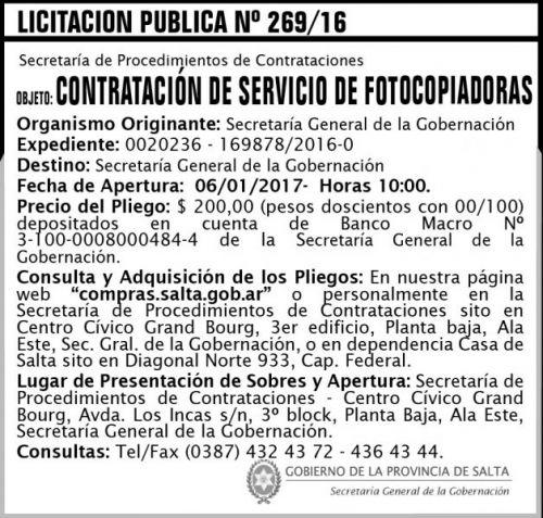 Licitación: Licitación Pública N° 269/16