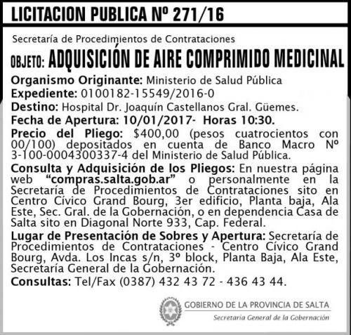 Licitación: Licitación Pública Nº 271/16