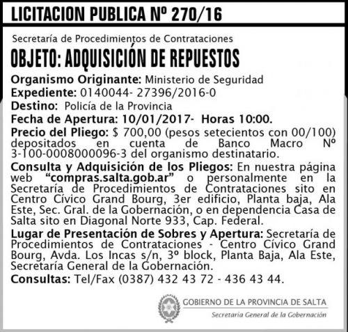 Licitación: Licitación Pública Nº 270/16