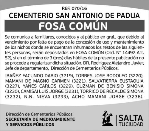 Edictos / Comunicados: Cementerio San Antonio de Padua