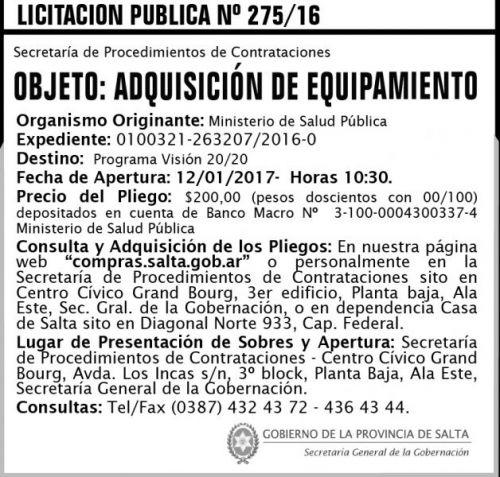 Licitación: Licitación Pública N° 275/16