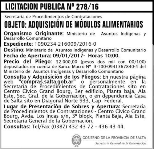Licitación: Licitaciòn Pùblica Nº 278/16