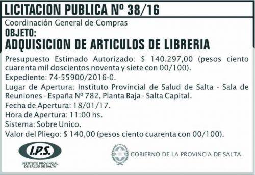 Licitación: LICITACION PUBLICA 38/16