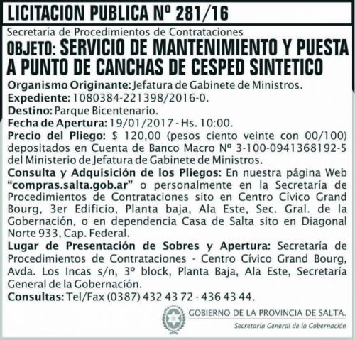 Licitación: LICITACION PUBLICA 281/16