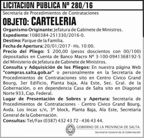 Licitación: LICITACION PUBLICA 280/16