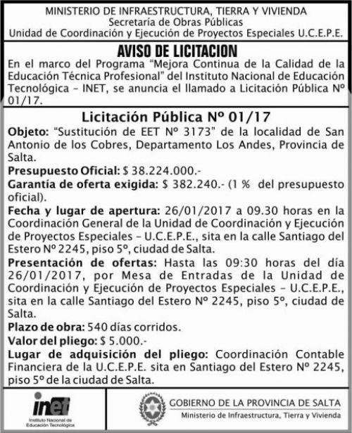 Licitación: LICITACION PUBLICA N 01/17