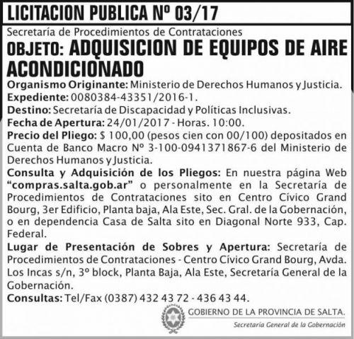 Licitación: LICITACION PUBLICA 03/2017