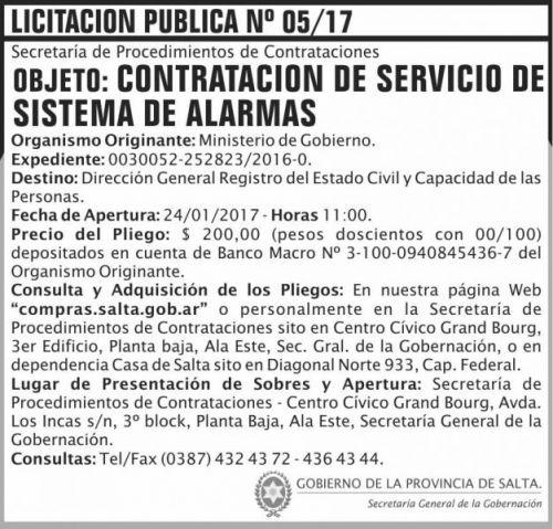 Licitación: LICITACION PUBLICA 05/2017