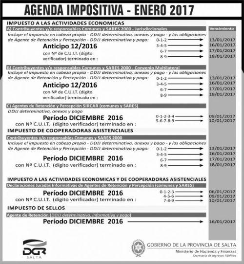 Licitación: AGENDA IMPOSITIVA - ENERO 2017