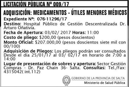 Licitación: Licitación Pública Nº 009/17