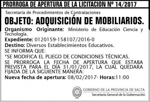 Licitación: Prorroga de Apertura de la Licitación Nº 14/2017