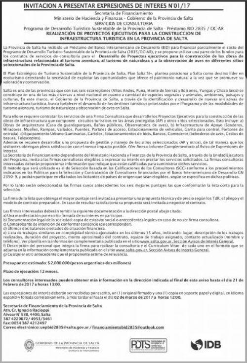 Edictos / Comunicados: Invitación a presentar expresiones de interes Nº 01/17