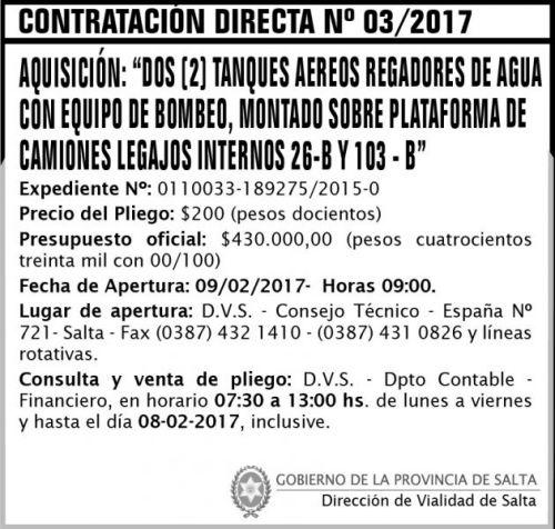 Edictos / Comunicados: Contratación Directa N° 03/2017