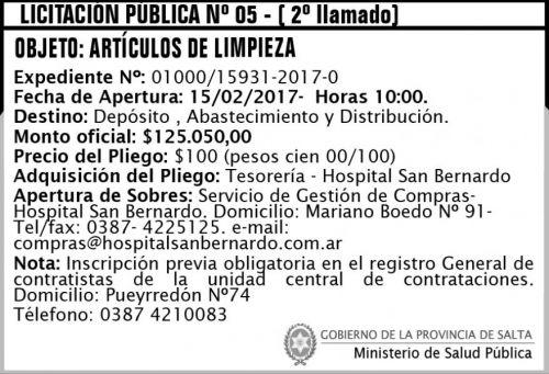 Licitación: Licitación Pública N° 05 - (2° llamado)