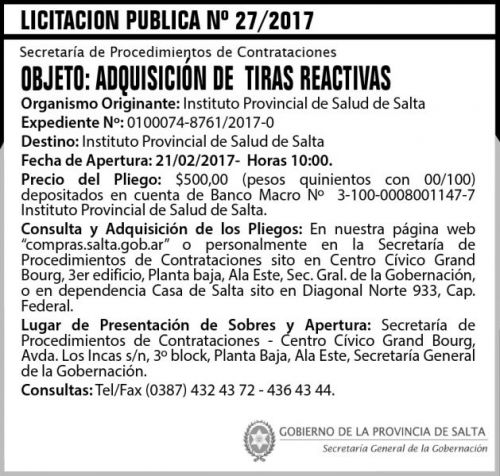 Licitación: Licitación Pública N° 27/2017