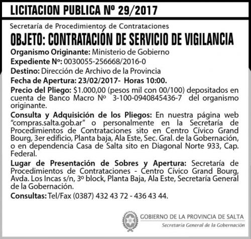 Licitación: Licitación Pública Nº 29/2017