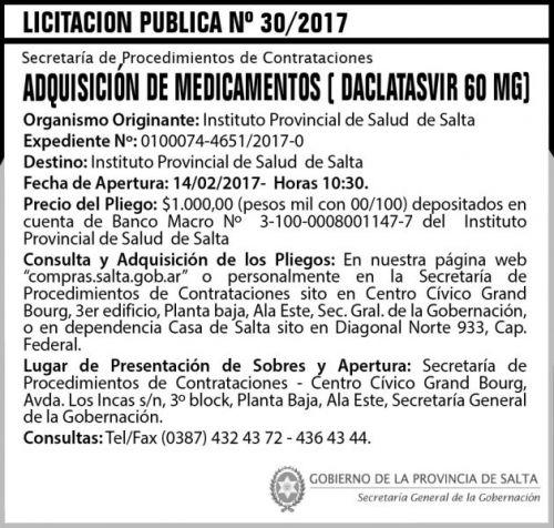 Licitación: Licitación Pública Nº 30/2017