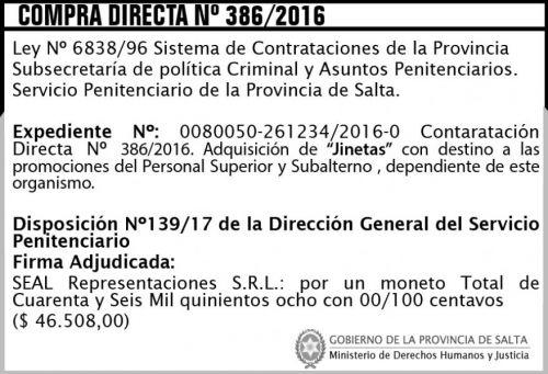 Compra Directa: Compra Directa Nº 386/2016