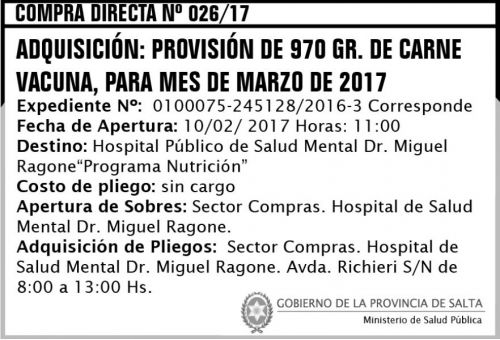 Compra Directa: Compra Directa Nº 026/17