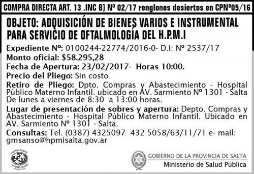Compra Directa: Compra Directa Art. 13 Inc. B Nº 02/17 renglones desiertos en CPNº 05/16