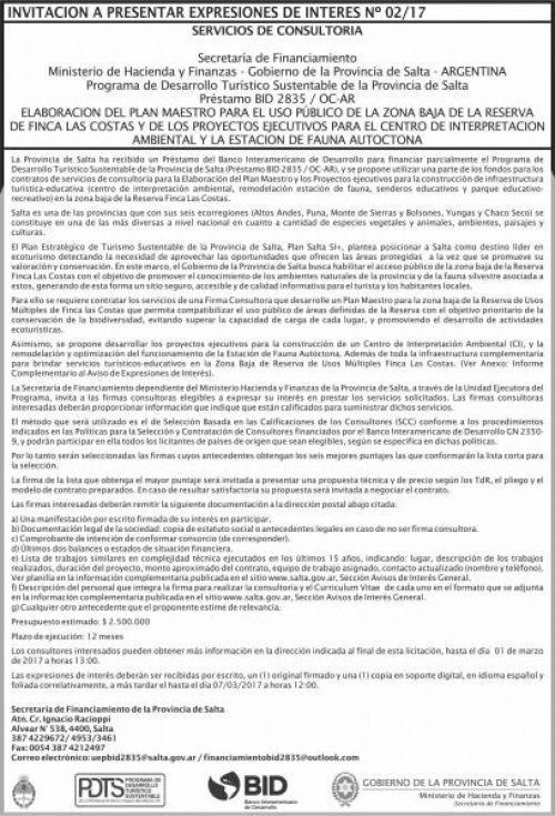 Edictos / Comunicados: Invitación a presentar expresiones de interes Nº 02/17