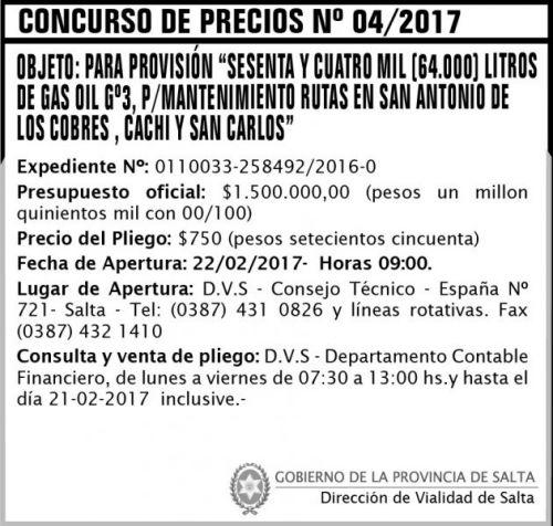Concurso de Precios: Concurso de Precios Nº 04/2017