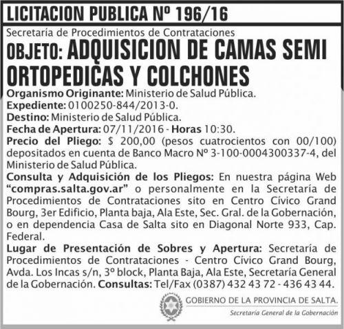 Licitación: Adquisición de camas semi ortopedistas y colchones