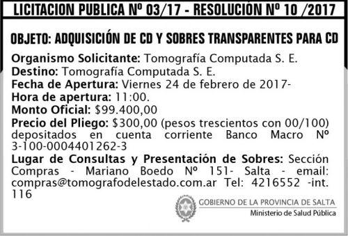 Licitación: Licitación Pública Nº 03/17 - Resolución Nº 10/2017