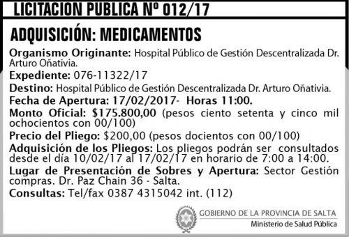 Licitación: Licitación Pública Nº 012/17