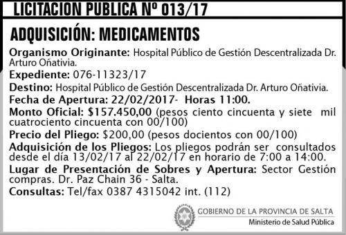 Licitación: Licitación Pública Nº 013/17