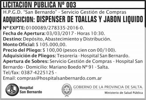 Licitación: Licitación Pública Nº 003