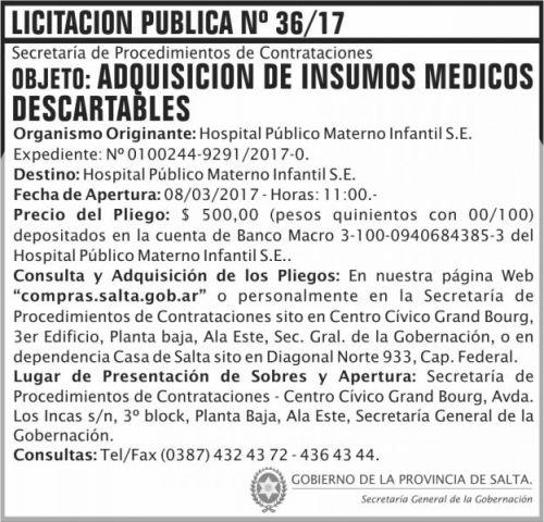Licitación: Licitación Pública Nº 36/17
