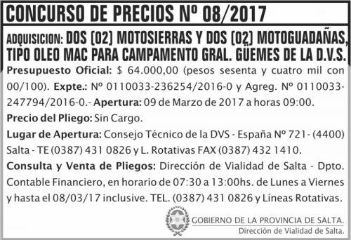 Concurso de Precios: Concurso de Precios Nº 08/2017