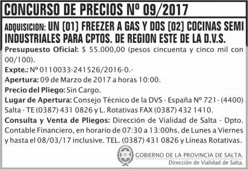 Concurso de Precios: Concurso de Precios Nº 09/2017