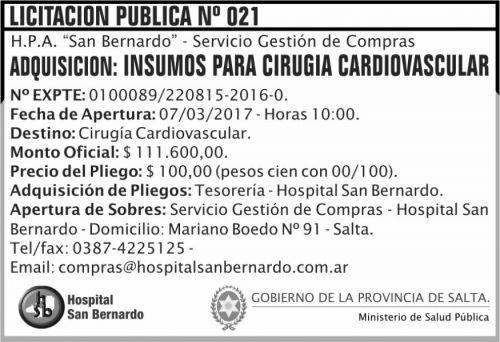 Licitación: Licitación Pública Nº 021