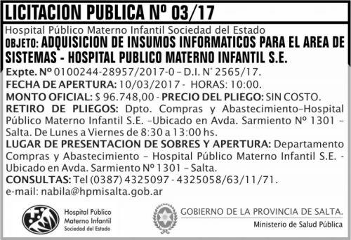 Licitación: Licitación Pública Nº 03/17
