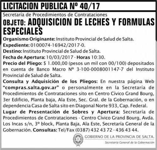 Licitación: Licitación Pública Nº 40/17