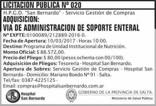 Licitación: Licitación Pública Nº 020