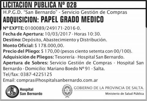 Licitación: Licitación Pública Nº 028