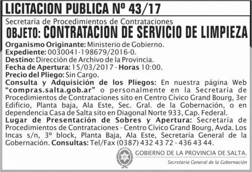 Licitación: Licitación Pública Nº 43/17