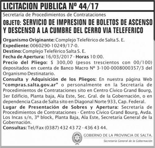 Licitación: Licitación Pública Nº 44/17