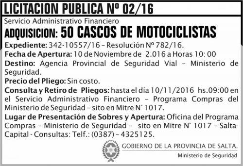 Licitación: Licitación Pública Nº 02/16
