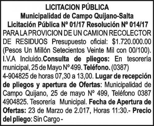 Licitación: LICITACION PUBLICA 01/17 MUNICIPILIDAD DE CAMPO QUIJANO