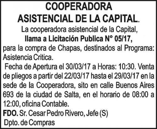 Licitación: Licitación Publica N° 05/17 COOPERADORA ASISTENCIAL DE LA CAPITAL