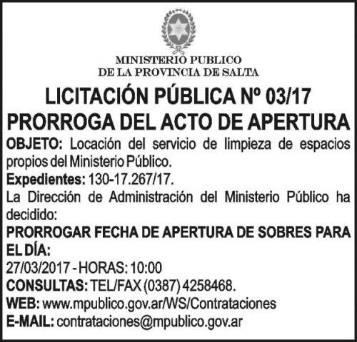 Licitación: LICITACION PUBLICA 03/17 MINISTERIO PUBLICO