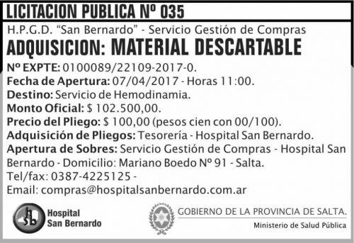 Licitación: Licitacion Publica 35 MSP SB