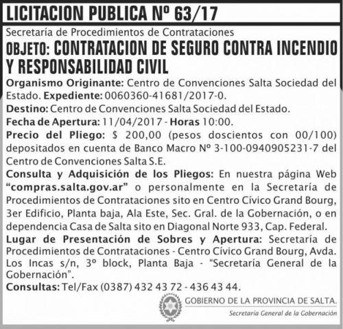 Licitación: Licitacion Publica 63 SGG CCS