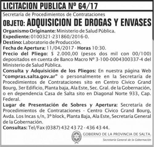 Licitación: Licitacion Publica 64 SGG MSP