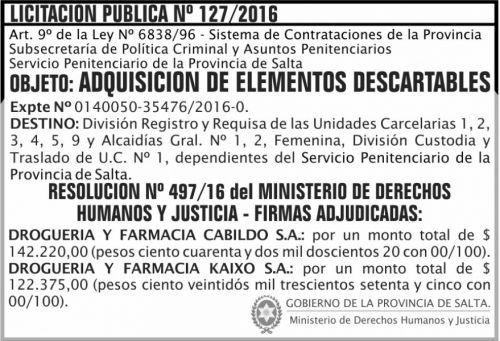 Licitación: LICITACION PUBLICA N° 127/2016