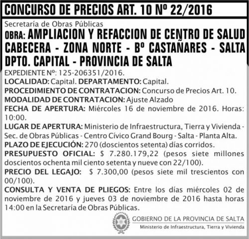 Concurso de Precios: CONCURSO DE PRECIOS ART. 10 Nº 22/16